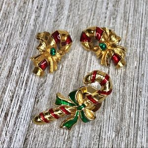 Candy Cane Earring & Pin Bundle Holiday Christmas
